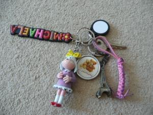 Klíčky od skříňky a čip na obědy